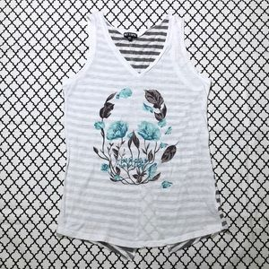 Hot Topic White Skull Striped Back Tank <3